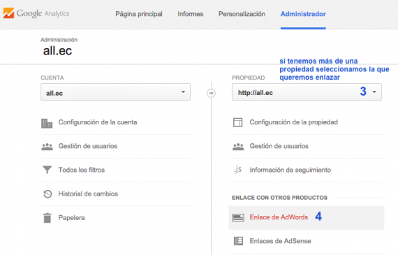 Enlazar Adwords y Analytics - Paso 3