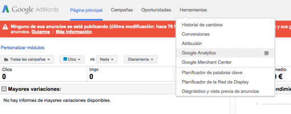 En lazar Adwords y Analytics Paso 1